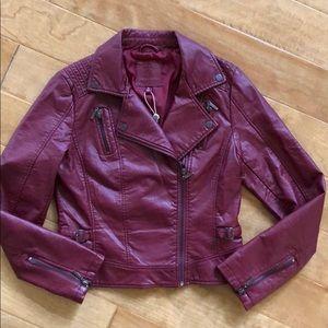 Red Vegan Leather Biker Jacket Max Studio Small